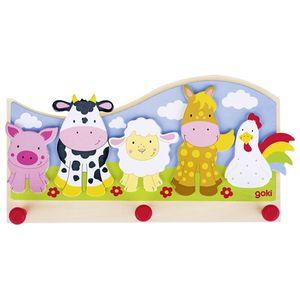 goki 60848 Garderobe Tiere auf dem Bauernhof, bunt (1 Stück)