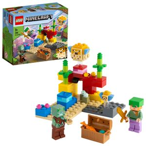 LEGO 21164 Minecraft Das Korallenriff Bauset mit Alex, 2 Kugelfischen aus Bausteinen und Ertrunkenem Zombie