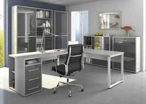 Büromöbel MAJA SET+ in Platingrau / Grauglas (Set 8)