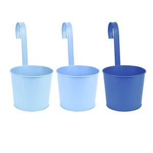 Rivanto® Blautöne Zink Blumentopf mit Haken, Ø 12 cm, für Terrasse, Balkon & Garten, farbig sortiert, Pflanztopf