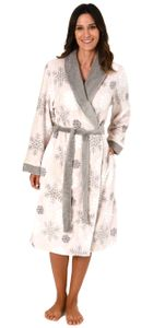 Kuscheliger Morgenmantel für Damen aus  - mit Schneeflocken - 281 218 97 956, Farbe:hellgrau, Größe:40/42