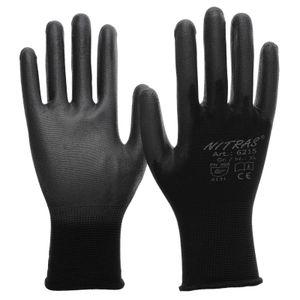 NITRAS 6215 Nylon Strickhandschuh Schutzhandschuhe Gartenhandschuh schwarz Größe:9