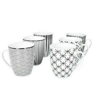 Mambocat Seoul 6er Kaffeebecher Set 320ml I 6 Personen I 6 Muster schwarz & weiß