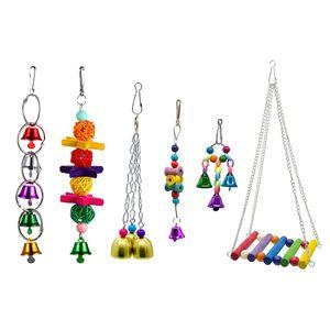 6er Bunte Rattanbälle Glocken Schaukel Hängematte Vogelspielzeug Set für Papageien Wellensittiche Nymphensittiche Kanarienvogel Kakadus Aras