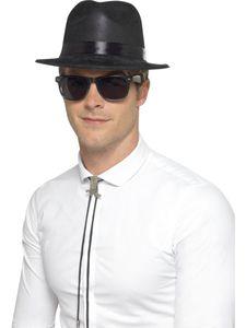 Kostüm Zubehör 50er Jahre Fedora Hut schwarz Karneval Fasching