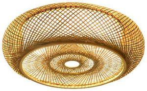 40 Zoll Retro Deckenleuchte Lampe Vintage Decke Licht Boho Style Bambus Holz gewebt Weben Rattan Kugel Hause Cafe Zimmer