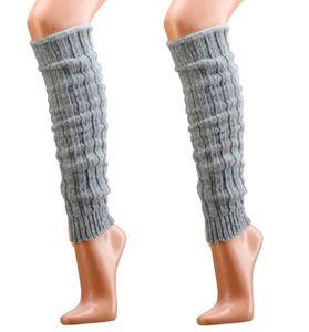 krautwear® 2 Paar Stulpen mit Alpakawolle ca. 40cm Legwarmers Grobstrickstulpen (2x silber)