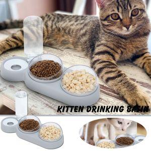 Katzenschale Drei Schalen Katzenfutterschale Trinkwasser Eine Tiernahrungsschale Hundezubehör LNN210218271