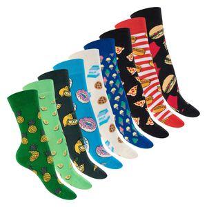 Footstar Damen & Herren Bunte Motiv Socken (9 Paar), Lustige Baumwoll Socken - Food 36-40