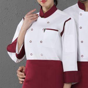 Chef Coat Jacket Langarm Restaurantpersonal Kellner Workwear Top L. Weiß Arbeitskleidung Solide