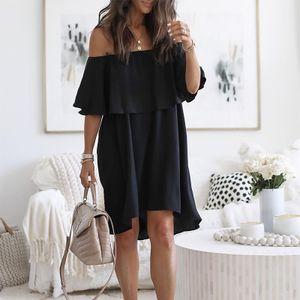 Frauen Kleid gekräuselt von der Schulter Riemchen lose beiläufige Abendgesellschaft Kleid Größe:M,Farbe:Schwarz