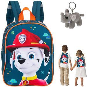 Rucksack Kinderrucksack Mädchen Jungen Kinder Kindergartenrucksack Fabrizio Paw Patrol Hund Kindertasche kids backpack 20633 Marshall Dunkelblau Dalmatiner + Elefant-Anhänger
