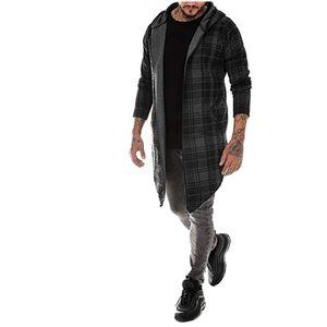 Männer Spleißen Kapuze Solid Trenchcoat Jacke Strickjacke Langarm Outwear Bluse Größe:M,Farbe:Dunkelgrau