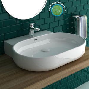 Nano-Beschichtung Ovales Waschbecken mit Überlaufschutz aus robuster Keramik 60x49 cm | Wandhängend oder als Aufsatzwaschtisch verwendbar | Handwaschtisch mit Befestigungsset