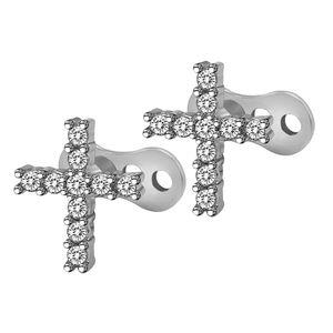 1 Paar Uni Dermal Piercingschmuck Ohrstecker Körperschmuck aus 316L Edelstahl - Silber Farbe Kreuz