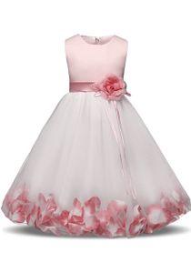 Mädchen Tutu Blütenblätter Schleife Brautkleid für Kleinkind Mädchen,Rosa,Gr.140