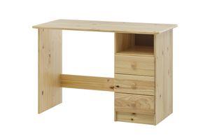 Möbilia Schreibtisch | 3 Schubladen, 1 offenes Fach | Kiefer-Holz massiv | B 110 x T 54 x H 73 cm | natur | 19020014 | Serie SCHREIBTISCH
