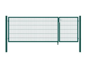 Doppelflügel Gartentor - Variantenauswahl, Farbe:Grün, Höhe:120 x 350 cm