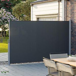 SONGMICS Seitenmarkise 180 x 400 cm (H x L) | für Balkon Terrasse Garten | Sichtschutz Sonnenschutz Seitenrollo Anthrazit GSA184G