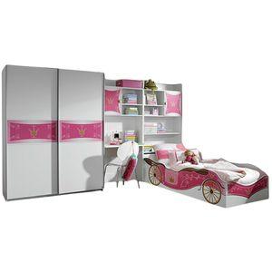 Kinderzimmer Zoe 4-tlg weiß pink Jugendzimmer Kleiderschrank Schreibtischregal + Regal inkl Bettkasten Bett Mädchen