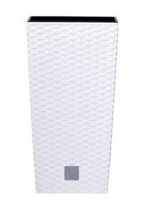 Blumentopf mit einem Beitrag Rato Square Rattan-Optik 11,4 Liter Weiß
