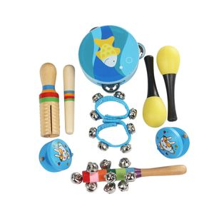 10 teile / satz Musical Spielzeug Schlaginstrumente Band Rhythmus Kit Einschließlich Tamburin Maracas Kastagnetten Holz Guiro für Kinder Kinder Kleinkinder
