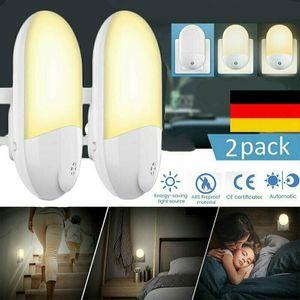 Miixia 2X LED Nachtlicht Warmweiß Steckdose Kinder Dämmerungssensor Steckdosenlampe