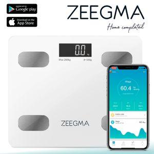 ZEEGMA Gewit Personenwaage Waage mit Körperfett Personenwaage Digital Analyse von bis zu 17 Körperparametern präzise Messung LCD Gewichtsmessbereich bis zu 200 kg