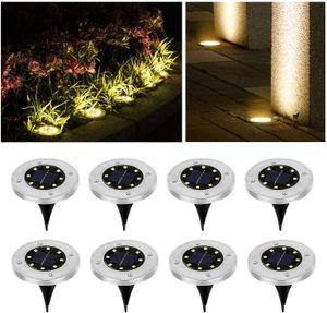 Speed 8x LED Solarlampe Bodeneinbaustrahler Solar Bodenleuchte Bodenlampe Außen 8Leds,Warmweiß