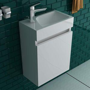 Alpenberger Badezimmermöbel Set weiß Mineralguss Waschbecken + Unterschrank weiß Hochglanz vormontiert