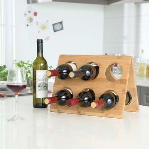 Design Weinregal für 6 Flaschen Wein aus Bambus - Hochwertiges Weinflaschenregal - Decopatent