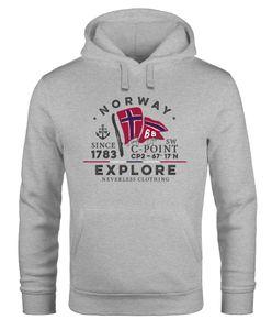 Hoodie Herren Norway Explore norwegische Flagge Norwegen Kapuzen-Pullover Männer Neverless® grau S