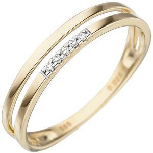 JOBO Damen Ring 52mm 585 Gold Gelbgold 5 Diamanten Brillanten Goldring Diamantring
