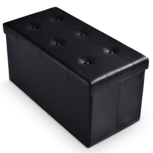 GOPLUS Sitzbank Sitzkasten Sitzcube Sitzbox Polsterhocker Sitzwuerfel Sitzhocker Sitztruhe mit Stauraum, Sitzflaeche aus PVC, bis 300 kg belastbar,faltbar, 76 x 38 x 38cm Schwarz