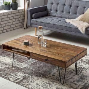 WERAN Couchtisch Massiv-Holz Sheesham Wohnzimmer-Tisch Metallbeine Landhaus-Stil Beistelltisch