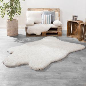 Langflor XXL Fellteppich Modern Einfarbig Übergröße Kuschelig Flokati Imitat Weiß, Größe:133x190 cm
