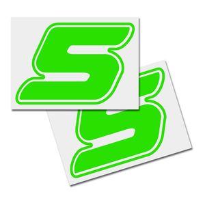 Startnummer Aufkleber 2er Set, Schrift Assen, # 5 grün
