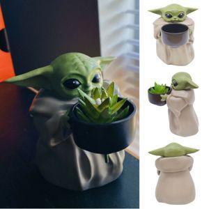 Baby Yoda Pflanzer Mini Garten Topf Figur Kreative Ornament Kllein Kunststoff Blumentopf & Loch Geburtstagsges Deko