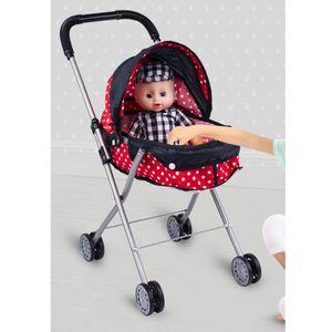 Puppenwagen Buggy Kinderwagen Puppenbuggy mit LED-Licht, 48 x 27 x 53 cm, 2er Set