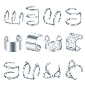 Edelstahl Ohr Manschette Helix Ohr Clip Auf Wrap Ohrringe Uni Silber Farbe Silber