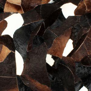 Teppich Echtes Kuhfell Patchwork 160×230cm Schwarz/Weiß/Braun - Carpet Teppiche Rutschfeste Bodenmatte für Wohnzimmer Schlafzimmer