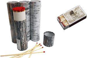 4 x 75er Rund-Packungen XXL Kaminstreichhölzer, 20cm, Verpackung im Baumrindendesign + 1 x Schachtel Nostalgie Streichhölzer Zündhölzer