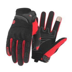Motorrad Reiten Handschuhe für Männer Frauen, Volle Finger Touch Screen für Sommer, Atmungsaktive Motorrad Handschuhe für Radfahren, ATV, Fahren Farbe Rot L.