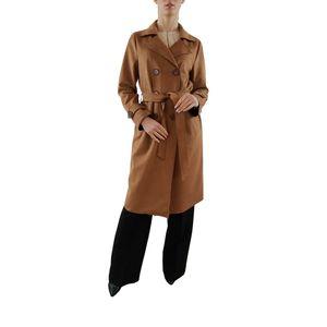 PAOLA SORMANI Trench-Coat aus Wildleder-Immitat mit Gürtel, klassisch,braun, Größe:38