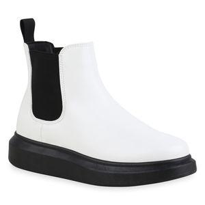 Mytrendshoe Damen Stiefeletten Chelsea Boots Keilabsatz Schuhe 835560, Farbe: Weiß, Größe: 39