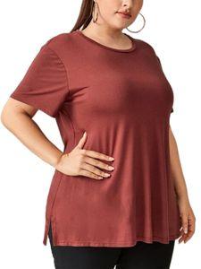 Einfache kurzärmelige lockere Sport-Yoga-Kleidung in Übergröße für Frauen,Farbe: Rot,Größe:XXL