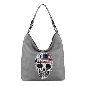 DAMEN TOTENKOPF SKULLS TASCHE Handtasche Shopper Strasssteine USA Flagge Schultertasche Umhängetache Henkeltasche Hobo-Bag Grau
