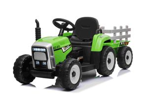 Elektrischer Traktor WORKERS mit Anhänger, Grün, Hinterradantrieb, 12-V-Batterie, Rädern, breitem Sitz, 2,4-GHz-Fernbedienung, MP3-Player mit Bluetooth und SD-Eingang, LED-Leuchten