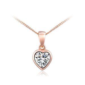 Damen Halskette Herz Kette Heart Anhänger vergoldet Zirkonia Kristall Geschenk rosegold