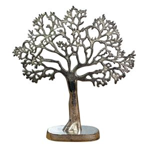 Schmuckbaum Schmuckständer Schmuckhalter Dekobaum Aluminium Silber 43 cm